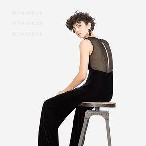 Zara Wide Leg Velvet Jumpsuit Sheer Insert